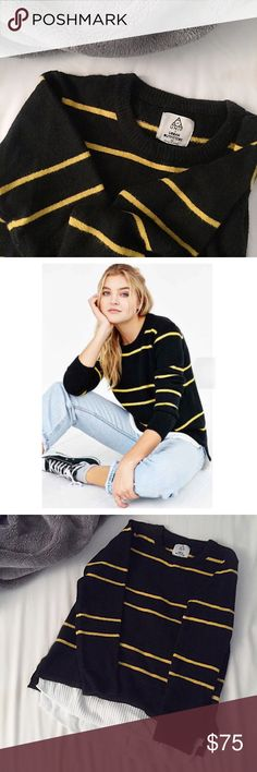FINAL FLASH- UNIF x UO Stripe Waffle Knit Black knit sweater by UNIF for Urban Outfitters featuring UNIF's signature contrasting stripe in yellow. White waffled knit layered hem detail. Worn once and in perfect condition. Size M. Retail $98. UNIF Sweaters Crew & Scoop Necks