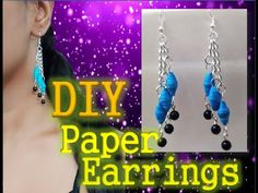 This contains the written tutorial of a pair of paper beaded earrings. Make Paper Beads, How To Make Paper, Paper Earrings, Bead Earrings, Diy Paper, Diy Tutorial, Thing 1, Make It Yourself, Projects