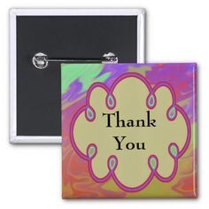 Fun Colorful Thank You Pinback Buttons