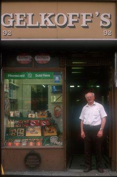 gelkoffs-whitechapel-high-st-Alan Dein's East End Shopfronts of 1988 East London, London City, The Wealth Of Nations, British Shop, Ghost Walk, London History, Peeling Paint, Brick Lane, Slums
