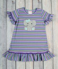 Another great find on #zulily! Stellybelly Purple & Mint Stripe Elephant Dress - Infant, Toddler & Girls by Stellybelly #zulilyfinds