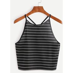Black Striped Criss Cross Back Top ($5.99) ❤ liked on Polyvore featuring tops, black, stripe top, lycra top, stretchy tops, spandex tops and striped top