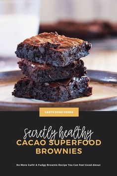 These decadent, fudgy brownies have a secret! They are actually healthy! Give this recipe a try and see why we always keep a batch on hand. Fudgy Brownie Recipe, Healthy Brownies, Fudgy Brownies, Brownie Recipes, Healthy Treats, Healthy Chocolate, How To Make Chocolate, Smart Snacks, Unsweetened Applesauce