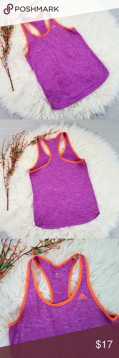ADIDAS Fuchsia and Orange Climalite Tank Top XS A great basic workout tank...or wear it any time you'd like! Fuchsia pink with orange accents. Climalite is fabric that wicks and transports liquid sweat away from the body when you train. Tank measures about 16 inches pit to pit and measures about 25 inches long.  Thank you for looking and please check out my closet!  A8 adidas Tops Tank Tops