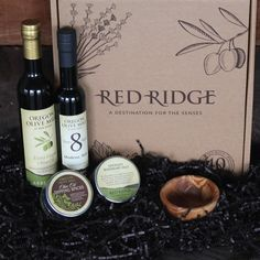 The Classic Gift Box | This collection includes full sized bottles of our estate-milled Oregon Olive Mill  Arbequina EVOO & an 8 year aged Balsamic Vinegar from Modena, Italy. Perfectly paired with a jar of our house made Olive Oil Dipping Spices, Rosemary Sea Salt & an elegant olive wood dipping bowl. A recipe card for a classic balsamic vinaigrette is enclosed.