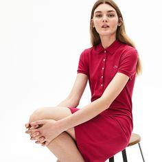 Lacoste Women's Stretch Cotton Mini PiquÉ Polo Dress In Blue Chine Lacoste Clothing, Rose Fushia, Long Skirts For Women, Pique Polo Shirt, World Of Fashion, Short Sleeve Dresses, Clothes For Women, Mini, Mens Tops