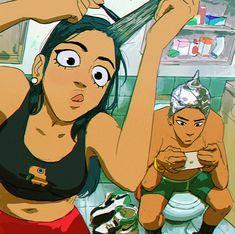 Foto Cartoon, Cartoon Kunst, Anime Kunst, Anime Art, Kunst Inspo, Art Inspo, Art And Illustration, Art Drawings Sketches, Cute Drawings