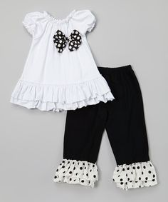 White Polka Dot Bow Ruffle Top & Black Pants - Toddler & Girls by Royal Gem #zulily #zulilyfinds