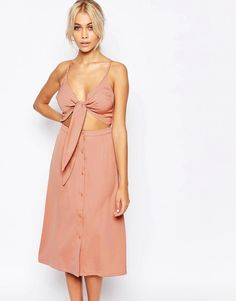Image 1 of Fashion Union 2 in 1 Bow Front Midi Dress