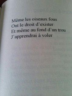 Même les oiseaux fous ont le droit d'exister Et même au fond d'un trou j'apprendrai à voler Even crazy birds have the right to exist and even at the bottom of a hole I will learn to fly Book Quotes, Me Quotes, Daily Quotes, Poems Beautiful, French Quotes, Some Words, Quotations, Texts, Inspirational Quotes