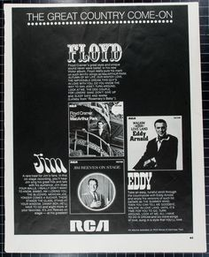 """Vintage 1968 RCA Ad Featuring Floyd Cramer Jim by VintageVirtus Great Madmen-era advertisement from a magazine that would look great in your home, office, or nightclub. Retro black-and-white ad features RCA's great country artist legends Floyd Cramer, Jim Reeves, and Eddy Arnold. Because of its age, there is slight discoloration and edge wear. Measures approximately 10""""W x 13""""L. Comes in protective sleeve."""