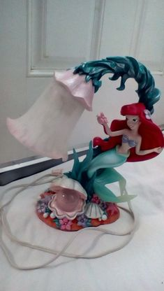 RARE DISNEY LITTLE MERMAID ARIEL LAMP WITH CRYSTAL BALL CLAM FROSTED GLASS BEADS  | eBay