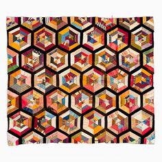 String Quilt Top – Framed String Hexagon   Mingei