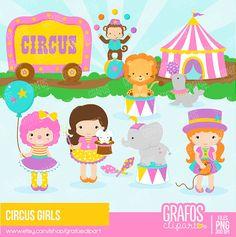 CIRCUS GIRLS Digital Clipart Set Circus Clipart by GRAFOSclipart