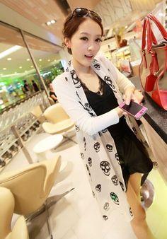 Women Long Sleeve Splicing White Cotton and Chiffon Coat One Size @FZ9486w