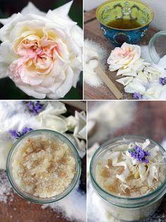 DIY Rosenpeeling! 15-20 EL Meersalz 4 EL Honig 3 EL brauner Zucker Rosenblätter 3-5 Tropfen Wildrosenöl (optional) #rosenpeeling #rosenblaetter #rose #diy #emsagartenblog