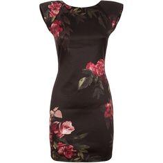 AX Paris Black Floral Bodycon Dress ($38) ❤ liked on Polyvore featuring dresses, bodycon dress, bodycon mini dress, black body con dress, bodycon party dresses и high neck black dress