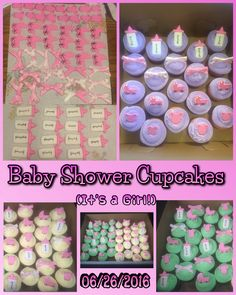 Baby shower cupcakes, vanilla, chocolate & raspberry amaretto almond.  Fondant baby buggies, bottles, bows & onesies on pastel colored frosting.  06/26/2016