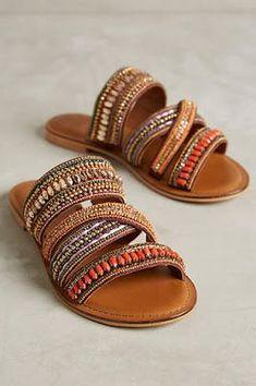 Ways to Rock Summer's Hottest Sandal Trends Jasper & Jeera Azille Slides OrangeJasper & Jeera Azille Slides Orange Sock Shoes, Cute Shoes, Me Too Shoes, Shoe Boots, Shoes Sandals, Boho Sandals, Beaded Sandals, Pretty Shoes, Cloth Sandals