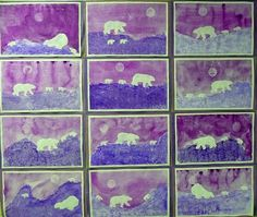 that artist woman: Polar Bears Revisited - i like the techniques for the background but there's no reason you can't teach the kids how to paint a polar bear without using stencils. Grade 1 Art, First Grade Art, Winter Art Projects, Ecole Art, Kindergarten Art, Art Lessons Elementary, Bear Art, Art Lesson Plans, Art Classroom