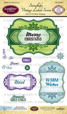 Snowflake Vintage Labels Seven Clear Stamps