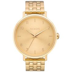Women's Nixon The Arrow Bracelet Watch, 38Mm (9,960 PHP) ❤ liked on Polyvore featuring jewelry, watches, gold, dial watches, gold wrist watch, nixon watches, yellow gold watches and bracelet watch