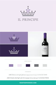The Prince Logo and Wine Label Design | Packaging Design | Winery Label | Grapes and Crown | Graphic Design
