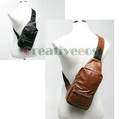 New Men's Leather Casual Backpack Crossbody Messenger Shoulder Sling Chest Bag | eBay
