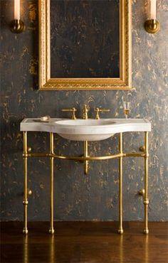 Palmer Industries pedestal sink vanity brass ball foot