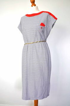 Vintage Navy White Red Stripped Breton French dress size 14 -16uk