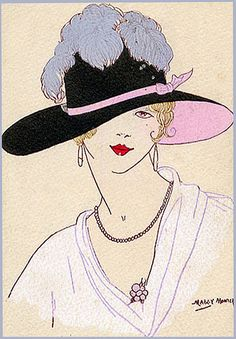 Vintage Art Deco Postcard--Artist Monier--Want that hat