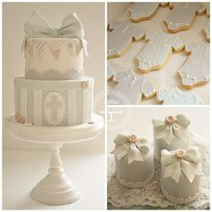 Christening cake, iced biscuits and mini cakes by Cotton and Crumbs, via Flickr