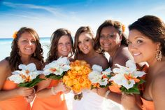 Kansas sweethearts, Lauren & Jon, celebrated their special day at the Gran Caribe Real Resort and Spa in Cancun, Mexico. the orange accents throughout the event lends to the tropical theme and blends in so well with blue skies and a pristine sandy beach. Orange Bridesmaid Dresses, Wedding Dresses, Cancun Mexico, Destin Beach, Wedding Pictures, Wedding Ideas, Sandy Beaches, Destination Wedding, Celebrities