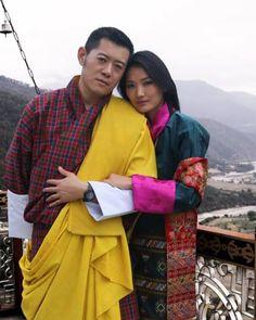 King Jigme Wangchuck of Bhutan and Queen Jetsun Pema of Bhutan at the Khamsum Yuley Namgyal Chorten in Punakha Bhuthan