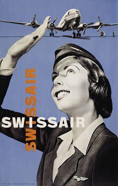 Carlo Vivarelli, Swissair, about 1952, Museum für Gestaltung Zürich, Poster Collection, © ZHdK  See '100 Years of Swiss Graphic Design'.  See Eye Events.