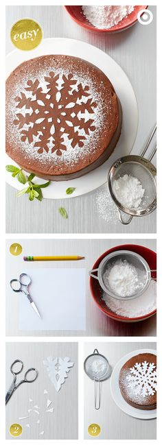 .~This holiday dessert looks great and it's ridiculously fast and easy to make. Pick up a frosted chocolate cake from the Bakery. Dress it up by cutting out a stencil, placing it on the cake, and then sifting powdered sugar over the top. Carefully lift off the stencil…and voilà! Chic and almost too pretty to eat~.