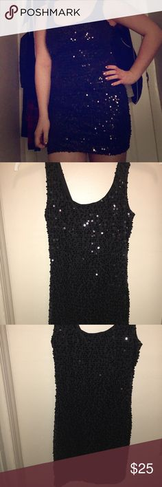 Black sequin dress Black sequin dress. Slim bodycon fit. Size small. Brand new never worn except to try on. Took the tags off and then changed my mind. Perfect for a night out or NYE!! Dresses Mini