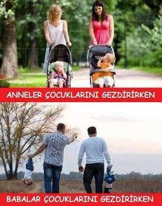 Anneler çocuklarını gezdirirken. Babalar çocuklarını gezdirirken.  #mizah #matrak #komik #espri #caps