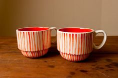 Candystripe Stackable Mugs by Young Alexander Kitchenware, Tableware, Serveware, Coffee Cocktails, Candy Stripes, My Cup Of Tea, Kitchen Cupboards, Cool Kitchens, Coffee Cups