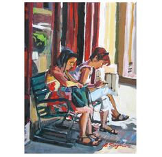 New York City Painting Two Girls Outside Coffee by GwenMeyerson, $350.00