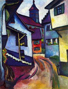 August Macke - 1911 Street with Church in Kandern