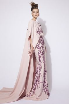 Pink Hand Sequined Silk Crepe Dress