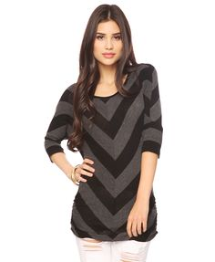 Ruched Chevron Stripes Top  $15.80