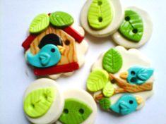 Button Little BirdHouse handmade polymer clay by digitsdesigns, $8.50