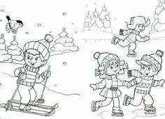 Zimní radovánky Sports Coloring Pages, Colouring Pages, Free Coloring, Coloring Pages For Kids, Adult Coloring, Winter Activities For Kids, Winter Crafts For Kids, Bookmark Template, Simons Cat