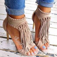 Shoespie Solid Color Tassel Stiletto Sandals Boho Heels 7c4422838d42