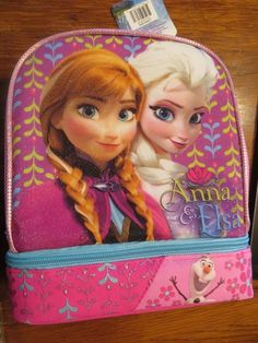 Lunch Bag Insulated 2-Compartment Drop Bottom Disney 3 Princesses Purple NEW
