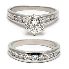 I just love the channel set setting in this platinum bridal engagement ring and wedding band set