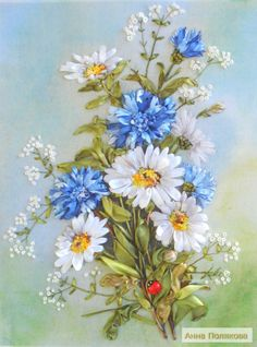 Daisies and corn flowers #ribbonEmbroidery