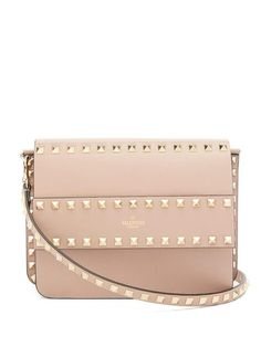 Valentino Rockstud Bag, Valentino Bags, Pink Leather, Smooth Leather, Studded Clutch, Quilted Bag, Dusty Pink, Leather Crossbody Bag, Sneakers Fashion